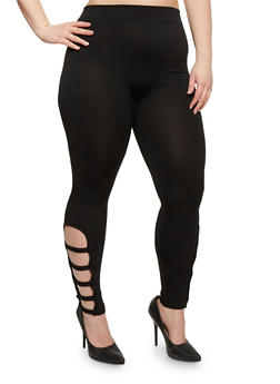 Plus Size Solid Leggings with Caged Accent - 1969001441283