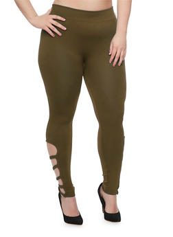 Plus Size Solid Leggings with Caged Accent - OLIVE - 1969001441283
