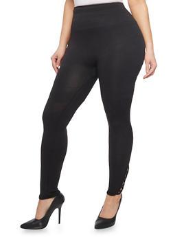 Plus Size Solid Leggings with Lattice Accent - 1969001441284