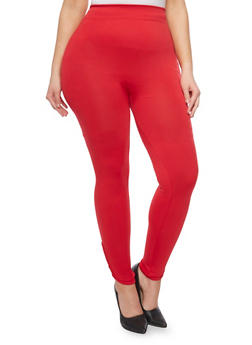 Plus Size Solid Leggings with Lattice Accent - 1969001441284