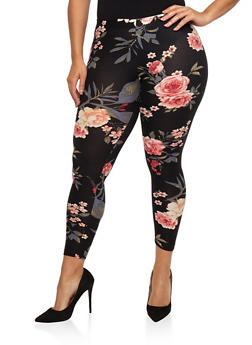 Plus Size Soft Knit Floral Leggings - 1969001441313