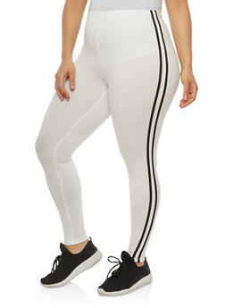 Plus Size Athletic Stripe Leggings - 1969001441316