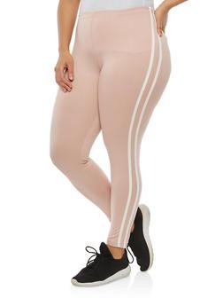 Plus Size Athletic Stripe Leggings - 1969001441316