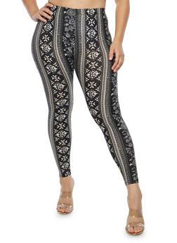 Plus Size Soft Knit Border Print Leggings - 1969001441343