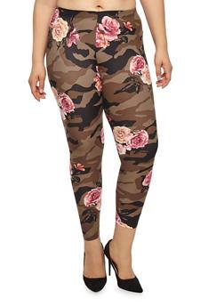 Plus Size Camo Floral Leggings - 1969001441349