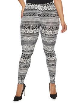 Plus Size Soft Knit Black Printed Leggings - 1969001441388