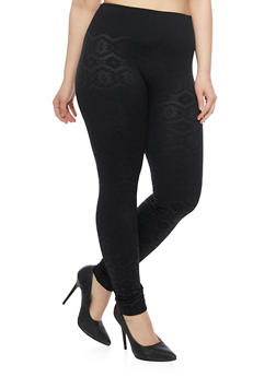 Plus Size Fleece Leggings in Aztec Print - 1969001442260