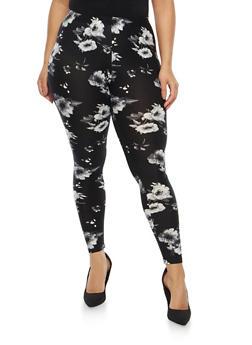 Plus Size Soft Knit Floral Leggings - 1969001443349