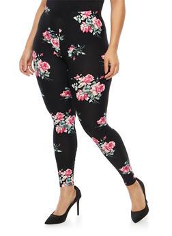 Plus Size Soft Knit Floral Leggings - 1969001443449