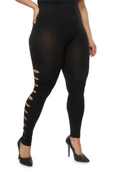 Plus Size Slashed Side Leggings - 1969001447240