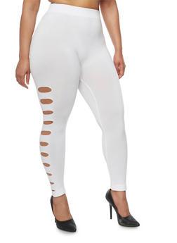 Plus Size Slashed Side Leggings - WHITE - 1969001447240