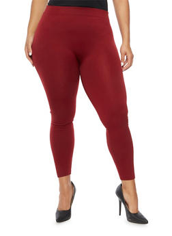 Plus Size Brushed Knit Leggings - WINE - 1969001447777