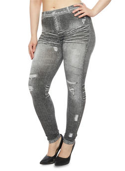 Plus Size Leggings in Denim Print - 1969001449700