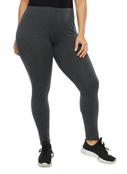 Plus Size Basic Black Leggings - 1969054266161