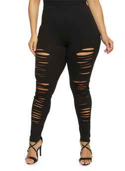 Plus Size High Waisted Slashed Leggings - 1969058932000
