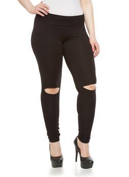 Plus Size High Waist Knit Pants With Knee Slits,BLACK,medium