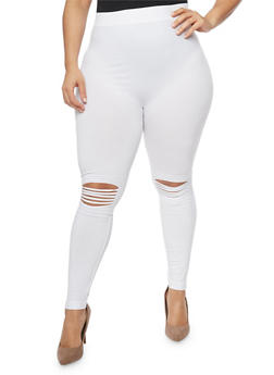 Plus Size Moto Leggings with Lasercut Knees - 1969061630019