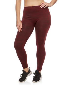 Plus Size Marled Fleece Lined Leggings - 1969061630039