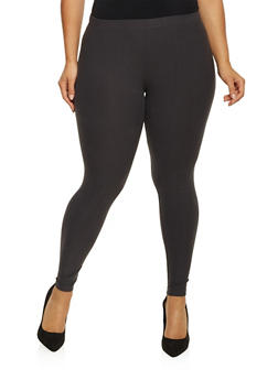 Plus Size Brushed Knit Leggings - 1969061630060