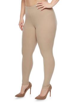 Plus Size Brushed Knit Leggings - 1969061630060