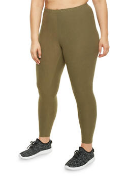 Plus Size Brushed Knit Leggings - GREEN - 1969061630060