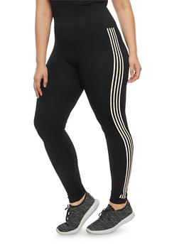 Plus Size Knit Varsity Stripe Activewear Leggings - 1969061630063