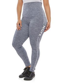 Plus Size Knit Varsity Stripe Activewear Leggings - 1969061630063