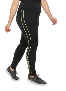 Plus Size Graphic Leggings - 1969061630064