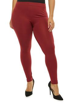 Plus Size Soft Knit Fleece Lined Leggings - 1969061630068