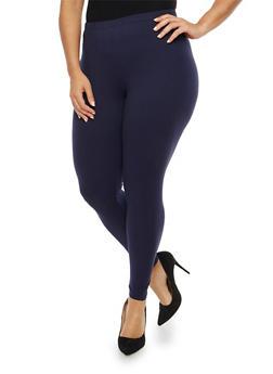 Plus Size Solid Leggings - 1969061630093