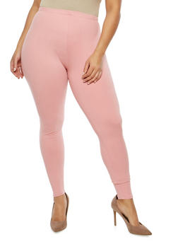 Plus Size Solid Leggings - 1969061630093
