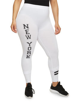 Plus Size New York Graphic Leggings with Striped Accent - 1969061630099