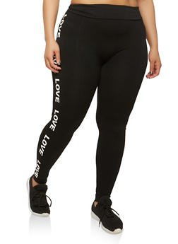 Plus Size Love Graphic Leggings - 1969061630124