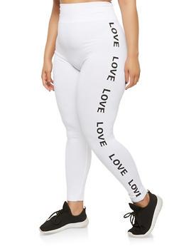 Plus Size Love Graphic Leggings - WHITE - 1969061630124