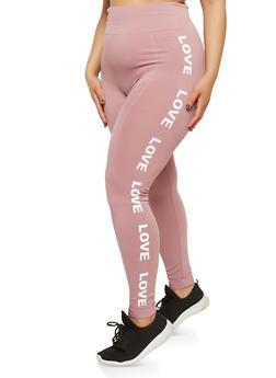 Plus Size Love Graphic Leggings - 1969061630124