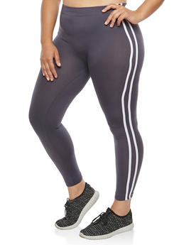 Plus Size Varsity Stripe Fleece Lined Leggings - 1969061630309