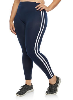 Plus Size Varsity Stripe Fleece Lined Leggings - 1969061630309