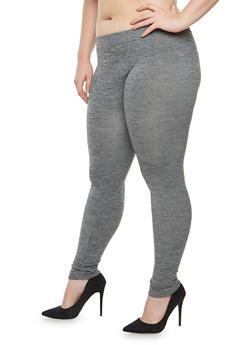 Plus Size Fleece Lined Space Dye Leggings - 1969061630339