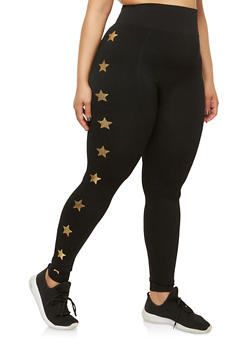Plus Size Foil Star Graphic Leggings - 1969061630495