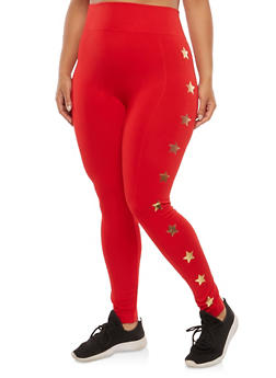 Plus Size Foil Star Graphic Leggings - 1969061630495
