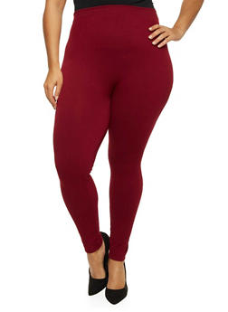 Plus Size Solid Knit Leggings - BURGUNDY - 1969061630612