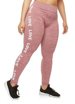 Plus Size Love Graphic Leggings - 1969061631209