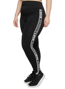 Plus Size Always Love Graphic Leggings - BLACK - 1969061631330