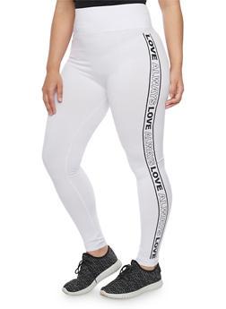 Plus Size Always Love Graphic Leggings - WHITE - 1969061631330