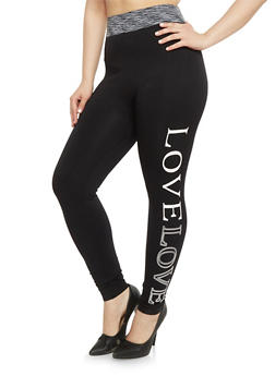 Plus Size Love  High Waisted Leggings - 1969061631349