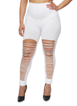 Plus Size Slashed Front Leggings - 1969061631629