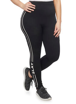 Plus Size Slay Graphic Leggings - BLACK - 1969061631733