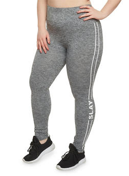 Plus Size Slay Graphic Leggings - 1969061631733