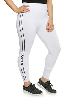 Plus Size Slay Graphic Leggings - WHITE - 1969061631733