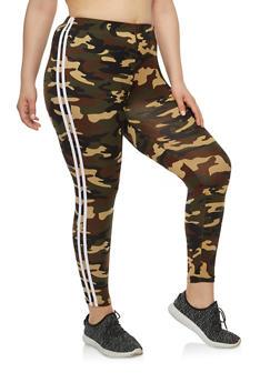 Plus Size Camo Stripe Side Leggings - 1969061632059